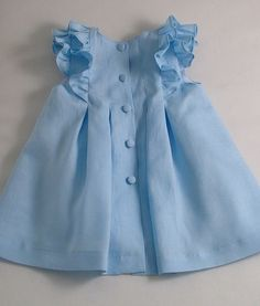 Ice Blue Linen Pleated Frilly Dress by patriciasmithdesigns - Kinder Kleidung Baby Girl Frocks, Kids Frocks, Frocks For Girls, Little Dresses, Little Girl Dresses, Baby Girl Dress Design, Girls Frock Design, Dress Girl, Little Girl Fashion