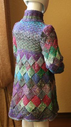 SALE Entrelac Knitted Coat Girl Coat 4 5 years by ArtsAndKnits
