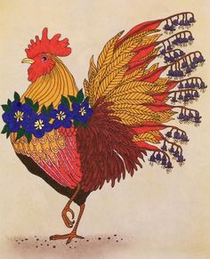 b76d897fc359 Rooster from Hanna Karlzon s Daydreams Dagdrommar. Coloured by Laura.