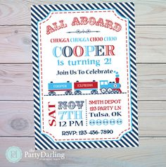 Train Birthday Invitation   Train Party Invitation   Train Party Favors   Train Party Decorations   Train Printables   The Party Darling by ThePartyDarlingLLC on Etsy https://www.etsy.com/listing/474802158/train-birthday-invitation-train-party