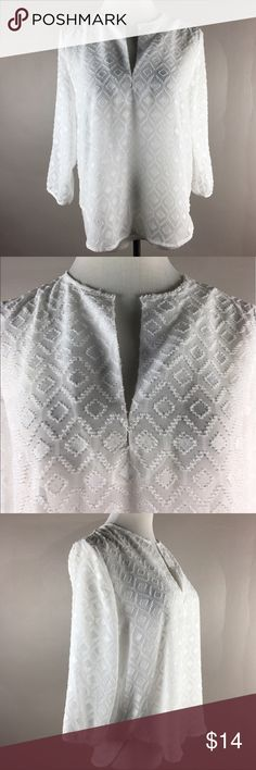 """Alice Blue for Stitch Fix Chevron Textured Top Roomy size small and loose fit, semi Sheer with chevron textured feel, 3/4 sleeves, flowy fit. 100% polyester. Bust 18"""", length 25"""". in excellent condition without fading, frays or snags! Alice Blue Tops Blouses"""