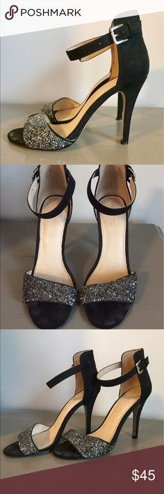 Black strappy heels Black high heels with Angkor strap and rhinestone detailing across toes.  Aldo size 9.  Wear shown on sole in photo. Aldo Shoes Heels