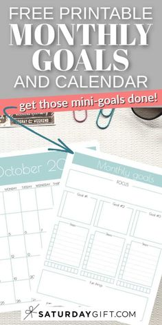 Want to easily set and achieve your mini-goals? Here's a monthly goals template and calendar that'll help you do just that. Check out this post and learn about how to get started.  #goalsetting #setgoals #achieve #succeed #monthly #plannerinserts #plannerpages Planner Sheets, Planner Inserts, Planner Pages, Life Planner, Free Printable Calendar, Printable Planner, Free Printables, How To Be More Organized, Goals Template
