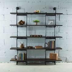 Furniture Pipeline Eugene Modern Industrial, Black 64 in. Large Storage Pipe Bookcase Etagere-Metal-Reclaimed/Aged Wood, Hammered Black Fittings & Aged Black Pipes With A Dark Brown Stain & Reclaimed Finish Large Bookcase, Etagere Bookcase, Bookcase Shelves, Wood Shelves, Glass Shelves, Shelving, Modern Bookcase, Diy Bookcases, Vintage Industrial Furniture