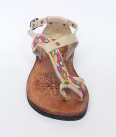 Bone Color Leather Sandals With Colorful Rope Gladiator Greek Style Flower Imprints