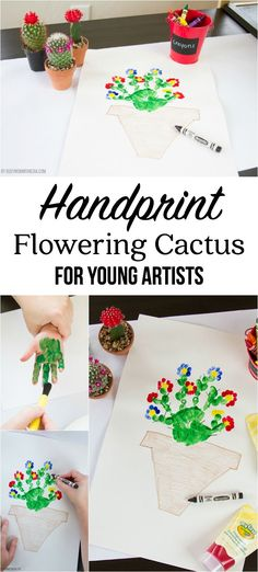 Handprint Flowering Cactus for Young Artists #MyFirstCrayola #ad | This handprint art for kids is so cute! What a fun preschool art project!
