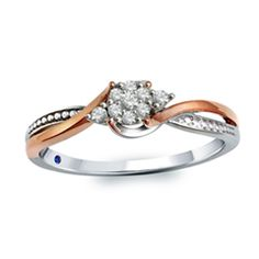 Cherished Promise Collection™ 0.10 CT. T.W. Diamond Cluster Promise Ring in 10K Two-Tone Gold  - Peoples Jewellers
