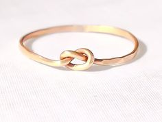Gold love knot ring, thin stacking ring, mid ring