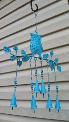 Ohhh Super cute! Sea Side Blue Owl Wind Chime
