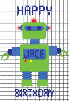World of Pinatas - Robot Green Personalized Poster, $16.99 (http://www.worldofpinatas.com/robot-green-personalized-poster/)