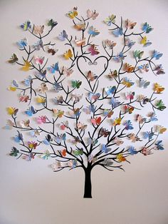 11X14 Tree of 3D Mini Butterflies Upcycled Love You Forever or