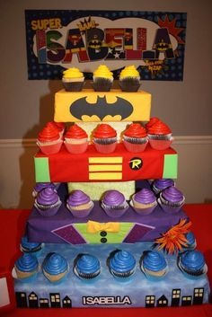 Cupcake stand at a Superheroes Birthday Party! See more party planning ideas at CatchMyParty.com!