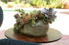 faux rock planter
