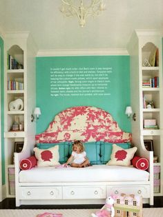 A thought I have had for when Claire is a bit older.  The bed centered under our odd, horizontal window with slivers of storage on either side.  Nice to see in a photo.