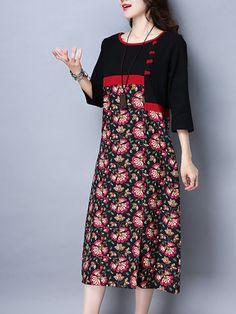 خمر المرأة الأزهار المطبوعة المرقعة طويلة الأكمام فساتين الجيب