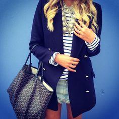 Elle Ferguson - Stripes & shorts.