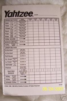 Superb image throughout printable yahtzee score pads