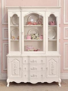 White Shabby Rose Chic China Cabinet with Glass Doors - The Bella Cottage from The Bella Cottage. Saved to Home - french, cottage and shabby: furniture. Shabby Chic Cabinet, Shabby, Chic Decor, China Cabinet, Furniture Makeover, Glass Cabinet Doors, Pretty Furniture, Shabby Chic Furniture, Victorian Furniture