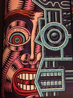 """Half Human"", Acrylic on Canvas, Size: 50 x 70 cm., (1999) - Paint Illustration by 'Prof. Bad Trip' [Gianluca Lerici], (b. 1963 - d. 2006, Italian)."
