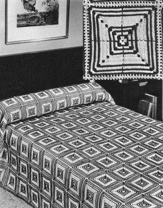 Modern Geometric Motif Bedspread Vintage Crochet Pattern for download