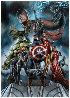 Marvel The Avengers Earths Mightiest Heroes Art Print by Sideshow Collectibles Marvel Avengers, Avengers Earth's Mightiest Heroes, Marvel Comics Superheroes, Thanos Marvel, Dc Comics Art, Marvel Fan, Marvel Heroes, Captain Marvel, Captain America