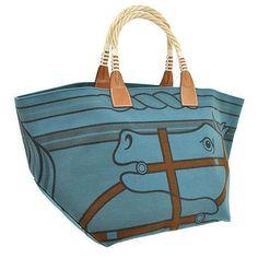 Authentic-HERMES-STEEPLE-Shoulder-Tote-Bag-Blue-Toile-H-France-Vintage-NR05640