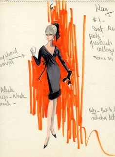 Edith Head costume sketch for Elke Sommer in 'The Oscar', 1966. via theswinginsixties