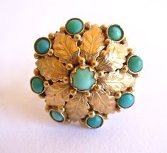 Vintage 18K Turquoise Cocktail Ring