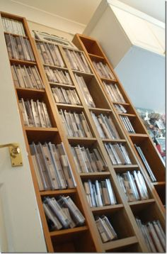 an idea for the craft room DVD shelves for stamp sets. I think I like this idea! Craft Room Storage, Craft Organization, Storage Ideas, Craft Rooms, Organizing Ideas, Dvd Shelves, Shelving, Movie Storage, Stamp Storage