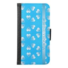Pretty small blue hearts. Add your own text. Wallet Phone Case For Samsung Galaxy S6 #walletphonecase #samsunggalaxys6case #samsunggalaxys6walletcase #customized #personalized #graphics #artwork #buy #sale #giftideas #zazzle #discount #deals #gifts #shopping #valentinesday #love #blue #hearts #name #colorful #cute #case #samsungcase