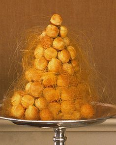 "Croquembouche | Martha Stewart Living - The name of this classic French dessert means ""crunch in the mouth""; Make the caramel and assemble the dessert as close to serving time as possible."