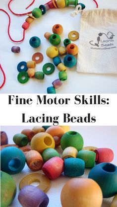 Lacing beads are a great way to encourage dexterity and build fine motor skills. The selection of shapes and colors provides a chance to build vocabulary and broaden pattern recognition through play. Each set comes with a myriad of shapes and color to thread, sort, lace, and explore. #etsyseller #etsyshop #prek #preschool #kindergarten #finemotor #natural #wooden #toy #montessori #waldorf #ad