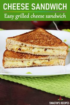 These cheese sandwiches make a super yummy & quick breakfast. Learn to make grilled cheese sandwiches at home. Learn the tips & tricks to make them perfect! Recipe with 3 grilling options - pan, toaster & oven via Grill Cheese Sandwich Recipes, Easy Sandwich Recipes, Cheese Recipes, Cooking Recipes, How To Make Sandwich, Chicken Recipes, Indian Beef Recipes, Making Grilled Cheese, Tasty Vegetarian Recipes