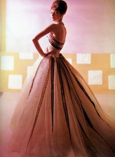 """Lucinda Hollingsworth in Balmain's evening gown called """"Soir à Chambord"""", photo by Tom Kublin, Summer 1961"""