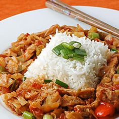 A quick stir-fry made with boneless pork and fresh green cabbage