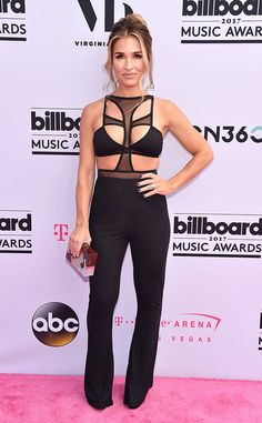 Jessie James Decker from Billboard Music Awards 2017: Red Carpet Arrivals  The country star arrived in black at the 2017 Billboard Music Awards in Las Vegas.