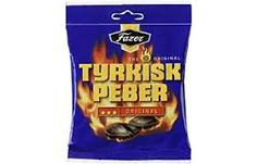 Fazer Tyrkisk Peber: From Finland, Turkish-pepper-flavored hard candies with a soft, insanely salty, astringent licorice filling known as salmiak. Best Candy, Favorite Candy, Gourmet Recipes, Snack Recipes, Ww Recipes, British Candy, Coconut Candy, Black Licorice