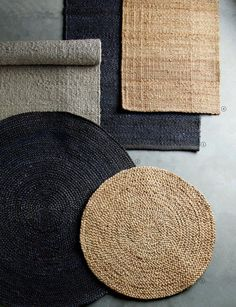 Natural Hemp and Jute Rugs by Tine K Home in Denmark. Exceptional quality large rugs which are hard wearing yet soft underfoot. Jute Carpet, Diy Carpet, Wall Carpet, Rugs On Carpet, Objet Deco Design, Jute Rug, Round Rugs, Natural Rug, Large Rugs