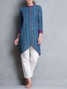 Blue-Purple Asymmetrical Button Down Ikat Cotton Kurta Kurti Neck Designs, Dress Neck Designs, Blouse Designs, Indian Designer Outfits, Indian Outfits, Designer Dresses, Kurtha Designs, Frock Fashion, Kurti Patterns