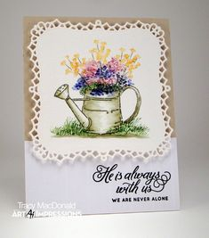 Art Impressions Rubber Stamps: Ai Wonderful Water Color. Watering Can Set ...handmade watercolor card.