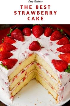 dessert recipes The only Strawberry Cake Recipe you will ever need! A fluffy vanilla cake is loaded with sweet strawberries and rich cream cheese whipped cream. The perfect dessert re Best Strawberry Cake Recipe, Strawberry Cakes, Strawberry Recipes, Vanilla Cake With Strawberries, Recipes With Strawberries, Strawberry Whipped Cream Cake, Strawberry Birthday Cake, Strawberry Shortcake Recipes, Food Cakes