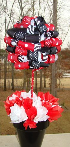 Ribbon Topiary in Zebra Red and Black Perfect for Christmas Only pink and zebra for my craftroom!!!!