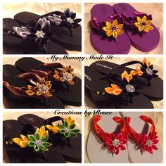 More creations - kanzashi flowers on flip flops/thongs