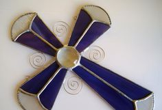 Stained Glass Cross Suncatcher Christian Purple