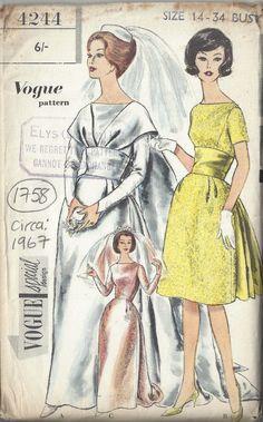 1967 Vintage VOGUE Sewing Pattern Bride's & Bridesmaid's Dress with Train Vintage Vogue, Moda Vintage, Vintage Fashion, 1960s Fashion, Fashion Fashion, Wedding Dress Patterns, Vintage Dress Patterns, Vintage Dresses, Vintage Outfits