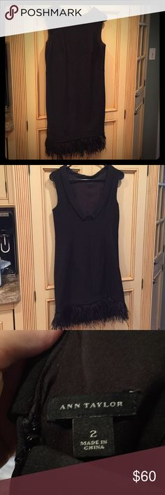 Black dress with feathered bottom - Ann Taylor Perfect LBD for the holidays! Ann Taylor dress with black feathers on bottom - gorgeous! Size 2 (but I normally wear a size 6!). Fabulous dress! Ann Taylor Dresses Midi