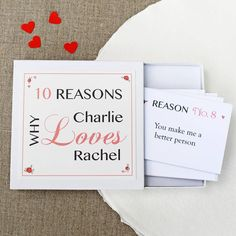Say 'I love you' in a delightfully special way with this romantic set of Personalised Love Notes.You can choose from either 10 or 20 love reasons; both are supplied in a smart presentation box. This presentation box is personalised with the name of who the love notes are from (e.g. you), and the recipient (your loved one!). You can also choose whether you'd like us to print your reasons on the note cards, or have them blank so you can write on them yourself. If you'd like us to p...