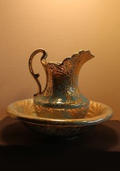 Vintage Pitcher & Wash Basin Bowl ceramic turquoise & gold by D. Clemens