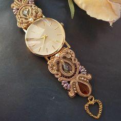 Women's watches/handmade Soutache Bracelet, Soutache Jewelry, Boho Jewelry, Beaded Jewelry, Jewelery, Jewelry Accessories, Beaded Necklace, Trendy Watches, Elegant Watches
