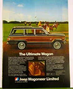 The blurring of the Station Wagon, Truck, Van and Utility Vehicle, the 82 AMC Jeep Wagoneer, which would later be called an SUV. My first car was an Jeep Cars, Us Cars, Station Wagon, Vintage Trucks, Vintage Ads, American Motors, American Auto, Woody Wagon, Old Jeep